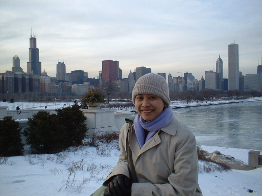 Freezing in Chicago, 2004.